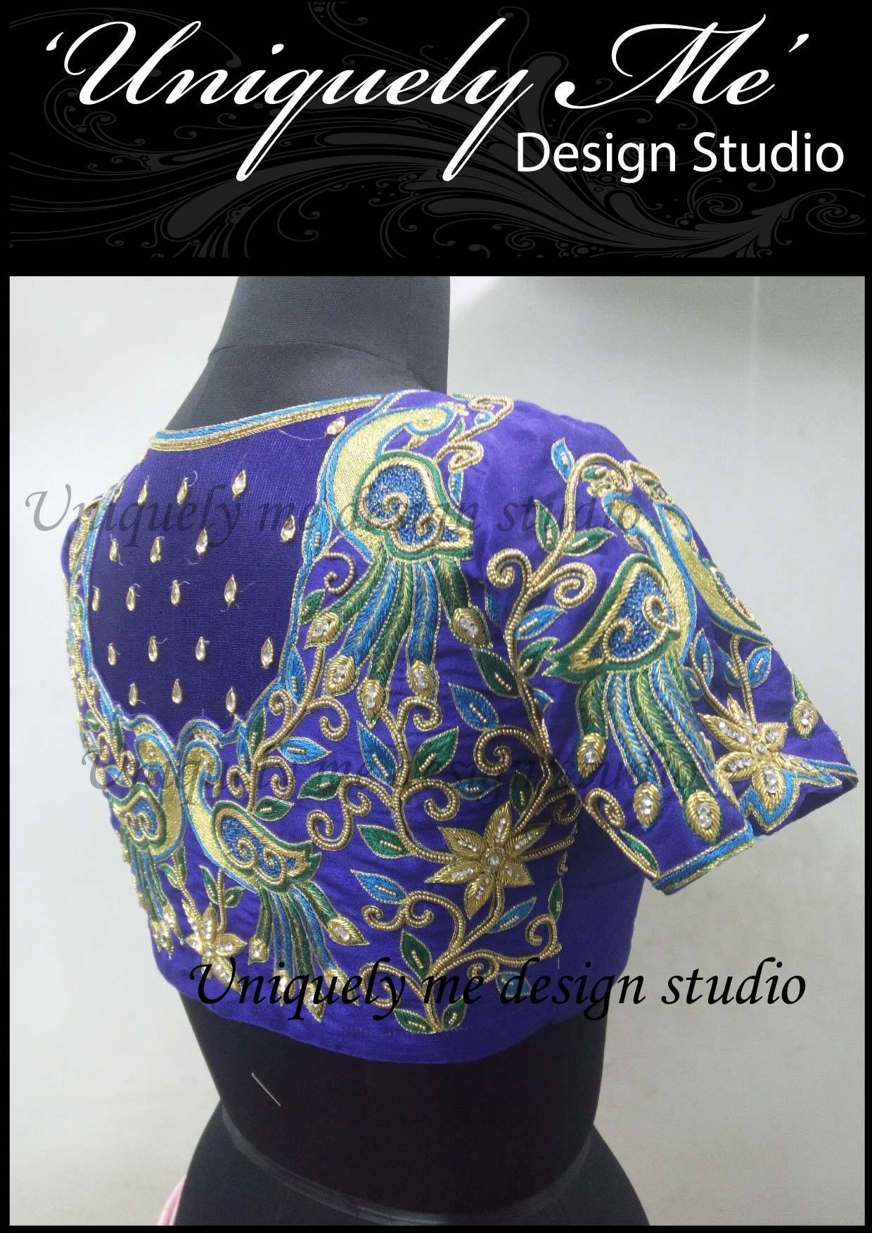 Zardosi work blouse in ECR